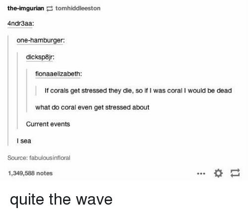 Imgurian: the-imgurian  E to  eeston  Andr3aa:  one-hamburger  dicksp8jr  fionaaelizabeth:  f corals get stressed they die, so if l was coral l would be dead  what do coral even get Stressed about  Current events  I Sea  Source: fabulousinfloral  1,349,588 notes quite the wave