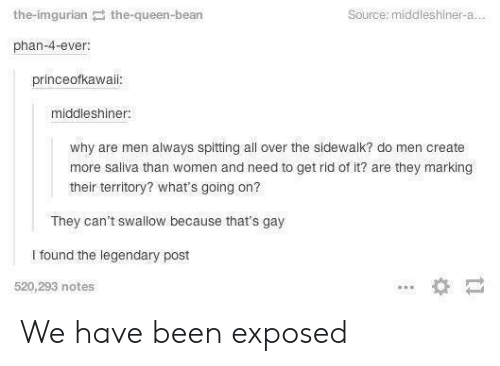 Imgurian: the-imgurian the-queen-bean  Source: middleshiner-a  phan-4-ever  princeofkawaii  middleshiner  why are men always spitting all over the sidewalk? do men create  more saliva than women and need to get rid of it? are they marking  their territory? what's going on?  They can't swallow because that's gay  I found the legendary post  520,293 notes We have been exposed