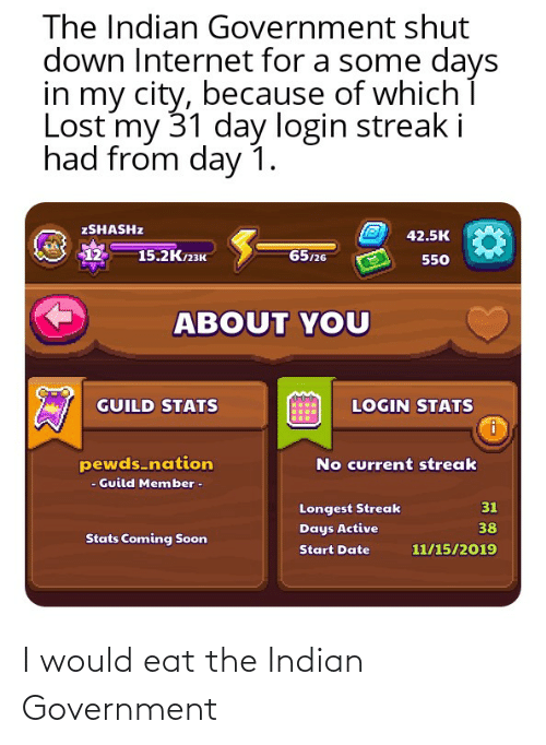 15 2: The Indian Government shut  down Internet for a some days  in my city, because of whichí  Lost my 31 day login streak i  had from day 1.  ZSHASHZ  42.5K  12  65/26  15.2Клзк  550  ABOUT YOU  GUILD STATS  LOGIN STATS  pewds-nation  - Guild Member -  No current streak  31  Longest Streak  38  Days Active  Stats Coming Soon  11/15/2019  Start Date I would eat the Indian Government