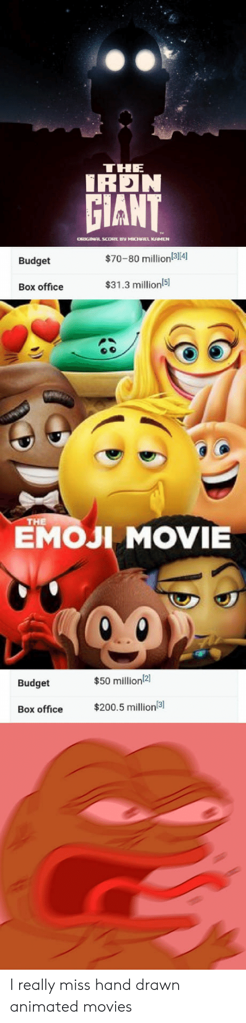 Bailey Jay, Emoji, and Movies: THE  İRDN  GIANT  ORIGINAL SCODRE BV MICHAEL KAMEN  Budget  $70-80 million(314)  Box office  $31.3 millionl5  151  EMOJI MOVIE  НЕ  Budget  $50 million2]  Box office $200.5 million I really miss hand drawn animated movies