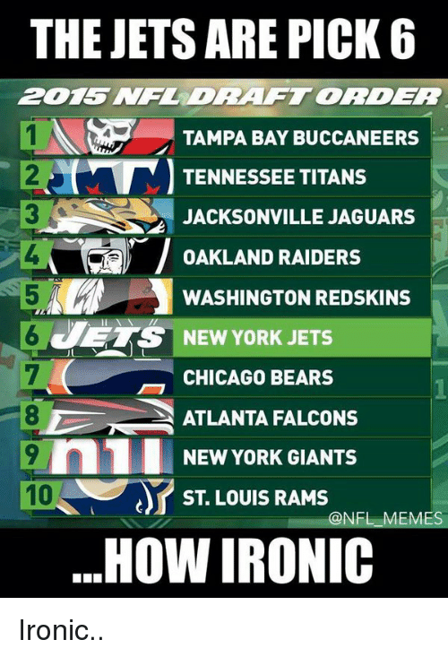 Atlanta Falcons, Chicago Bears, and New York Giants: THE JETS ARE PICK 6  TAMPA BAY BUCCANEERS  TENNESSEE TITANS  JACKSONVILLE JAGUARS  OAKLAND RAIDERS  WASHINGTON REDSKINS  ETS NEW YORK JETS  CHICAGO BEARS  ATLANTA FALCONS  9 n1 NEW YORK GIANTS  ST LOUIS RAMS  @NFL MES  HOW IRONIC Ironic..