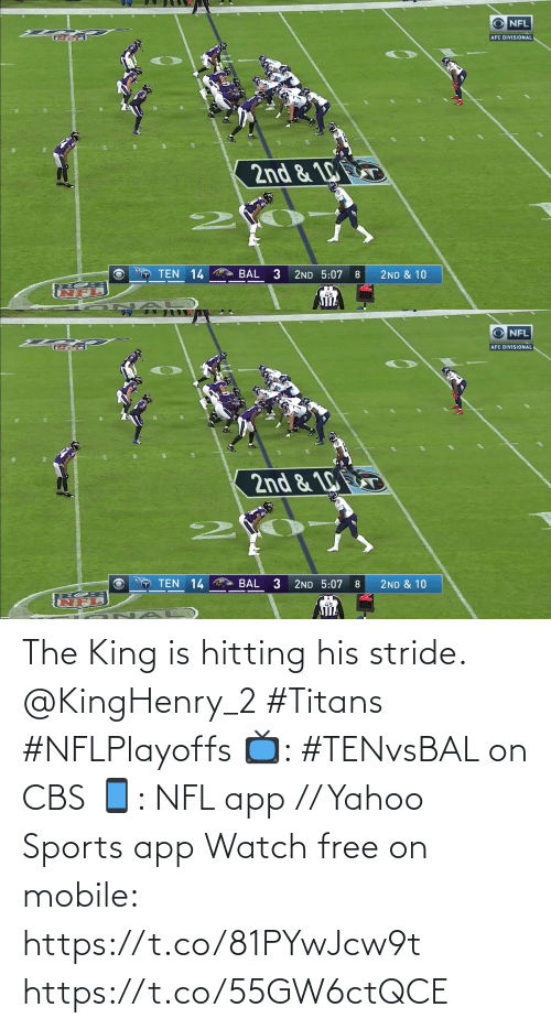 His: The King is hitting his stride. @KingHenry_2 #Titans #NFLPlayoffs  📺: #TENvsBAL on CBS 📱: NFL app // Yahoo Sports app Watch free on mobile: https://t.co/81PYwJcw9t https://t.co/55GW6ctQCE