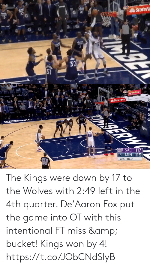 miss: The Kings were down by 17 to the Wolves with 2:49 left in the 4th quarter.   De'Aaron Fox put the game into OT with this intentional FT miss & bucket!   Kings won by 4!    https://t.co/JObCNdSlyB