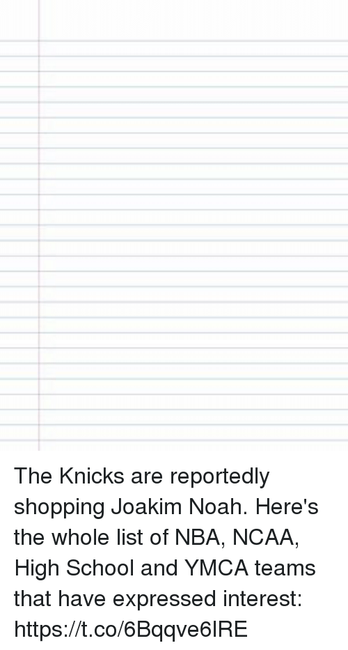 Joakim Noah: The Knicks are reportedly shopping Joakim Noah. Here's the whole list of NBA, NCAA, High School and YMCA teams that have expressed interest: https://t.co/6Bqqve6lRE