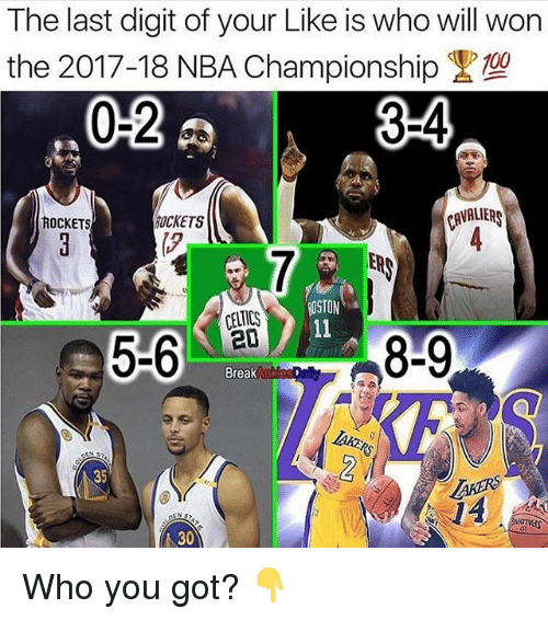 Wonned: The last digit of your Like is who will won  the 2017-18 NBA Championship  02  34  OCKETS  AVALIERS  ROCKETS  ER  OSTON  CELTICS  ed  Break  35  AKERS  0  ト30 Who you got? 👇