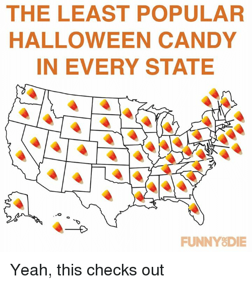 Candy, Dank, and Funny: THE LEAST POPULAR  HALLOWEEN CANDY  IN EVERY STATE  FUNNY&DIE Yeah, this checks out