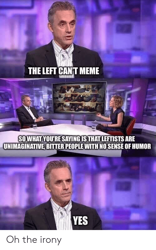 Meme, Irony, and Yes: THE LEFT CANT MEME  SOWHAT YOU'RE SAYING IS THAT LEFTISTS ARE  UNIMAGINATIVE, BITTER PEOPLE WITH NO SENSE OF HUMOR  YES Oh the irony