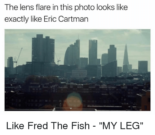"Funny, Fred the Fish, and Fred: The lens flare in this photo looks like  exactly like Eric Cartman Like Fred The Fish - ""MY LEG"""
