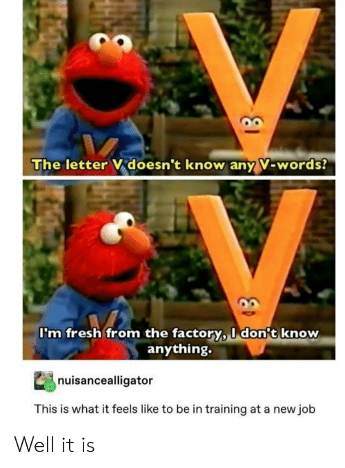 Fresh, Job, and Words: The letter V doesn't know any V-words?  I'm fresh from the factory, I don't know  anything.  nuisancealligator  This is what it feels like to be in training at a new job Well it is