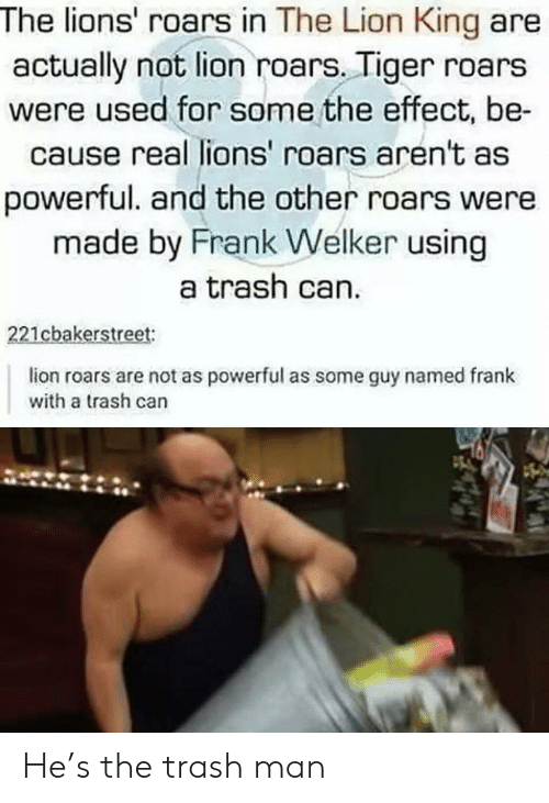 Trash, The Lion King, and Lion: The lions' roars in The Lion King are  actually not lion roars. Tiger roars  were used for some the effect, be-  cause real lions' roars aren't as  powerful. and the other roars were  made by Frank Welker using  a trash can.  221cbakerstreet:  lion roars are not as powerful as some guy named frank  with a trash can He's the trash man