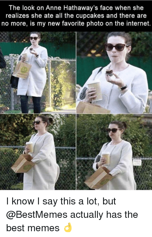 Internet, Memes, and Best: The look on Anne Hathaway's face when she  realizes she ate all the cupcakes and there are  no more, is my new favorite photo on the internet. I know I say this a lot, but @BestMemes actually has the best memes 👌