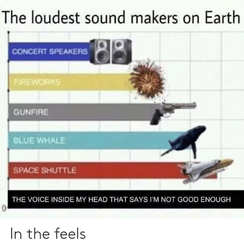 blue whale: The loudest sound makers on Earth  CONCERT SPEAKERS  FIREWORKS  GUNFİRE  BLUE WHALE  SPACE SHUTTLE  THE VOICE INSIDE MY HEAD THAT SAYS I'M NOT GOOD ENOUGH In the feels