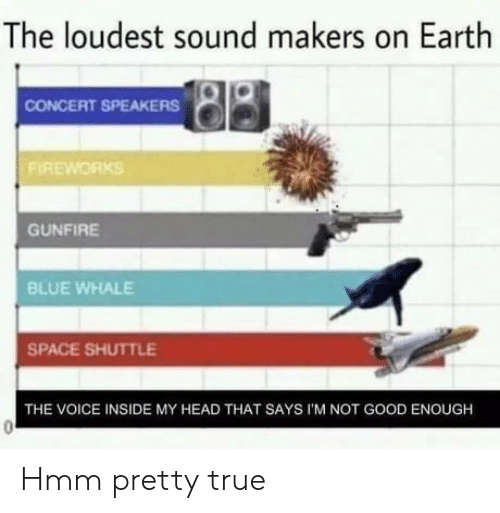 Head, The Voice, and True: The loudest sound makers on Earth  CONCERT SPEAKERS  FIREWORKS  GUNFIRE  BLUE WHALE  SPACE SHUTTLE  THE VOICE INSIDE MY HEAD THAT SAYS I'M NOT GOOD ENOUGH Hmm pretty true