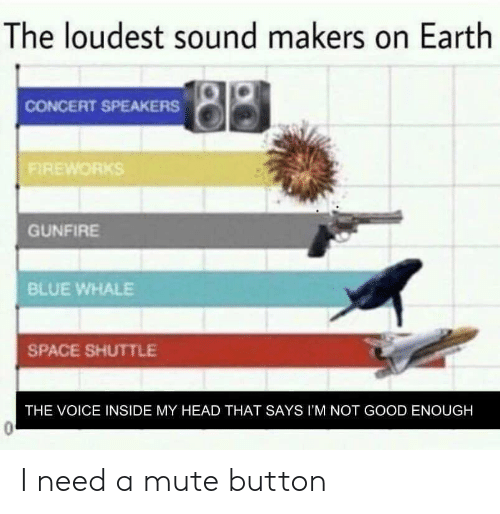 Head, The Voice, and Mute: The loudest sound makers on Earth  CONCERT SPEAKERS  FIREWORKS  GUNFIRE  BLUE WHALE  SPACE SHUTTLE  THE VOICE INSIDE MY HEAD THAT SAYS I'M NOT GOOD ENOUGH I need a mute button