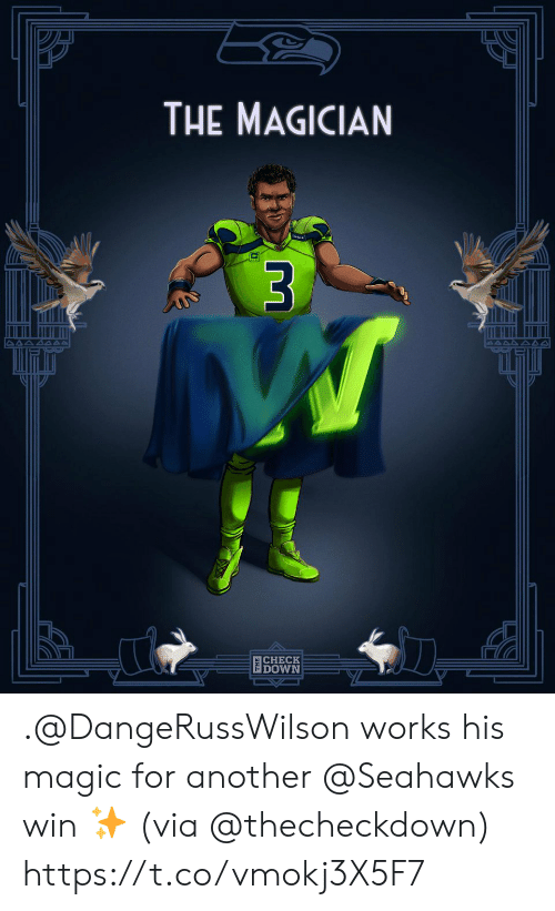 Memes, Magic, and Seahawks: THE MAGICIAN  $3  CHECK  DOWN .@DangeRussWilson works his magic for another @Seahawks win ✨  (via @thecheckdown) https://t.co/vmokj3X5F7