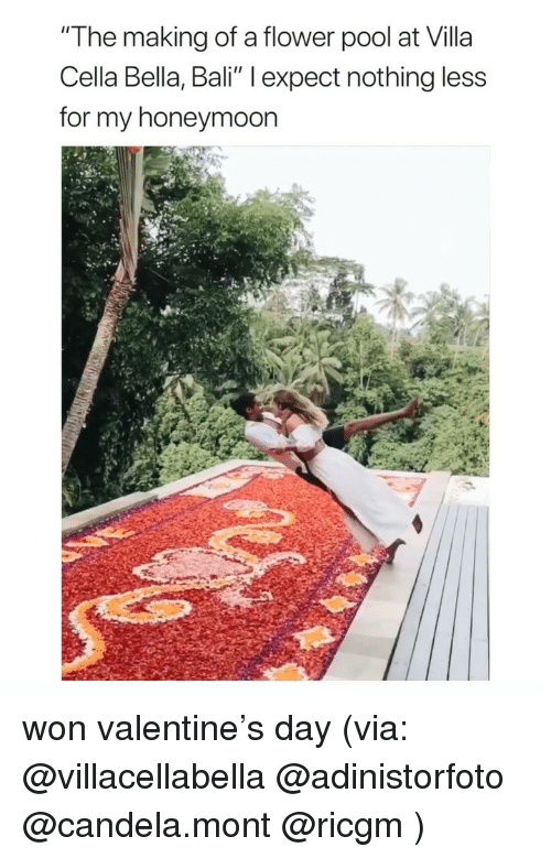 """Honeymoon: """"The making of a flower pool at Villa  Cella Bella, Bali"""" l expect nothing less  for my honeymoon won valentine's day (via: @villacellabella @adinistorfoto @candela.mont @ricgm )"""