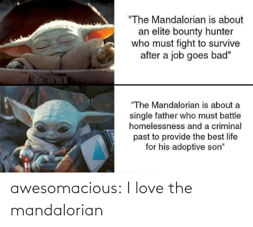 "Bad, Life, and Love: ""The Mandalorian is about  an elite bounty hunter  who must fight to survive  after a job goes bad""  ""The Mandalorian is about a  single father who must battle  homelessnesss and a criminal  past to provide the best life  for his adoptive son"" awesomacious:  I love the mandalorian"