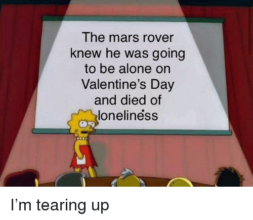 mars rover: The mars rover  knew he was going  to be alone on  Valentine's Day  and died of  loneliness I'm tearing up
