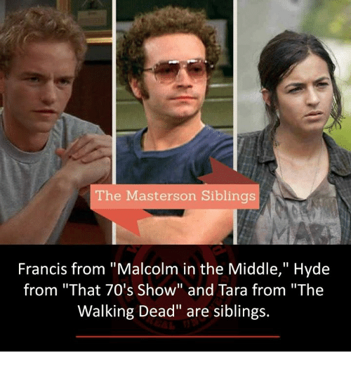 """Malcolm in the Middle: The Masterson Siblings  Francis from """"Malcolm in the Middle,"""" Hyde  from """"That 70's Show"""" and Tara from """"The  Walking Dead"""" are siblings."""