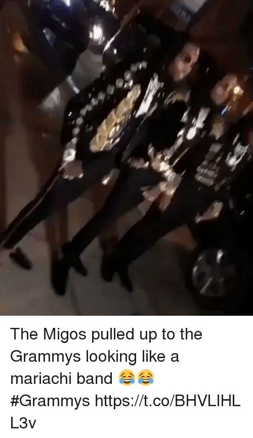 The Grammys: The Migos pulled up to the Grammys looking like a mariachi band 😂😂 #Grammyshttps://t.co/BHVLlHLL3v