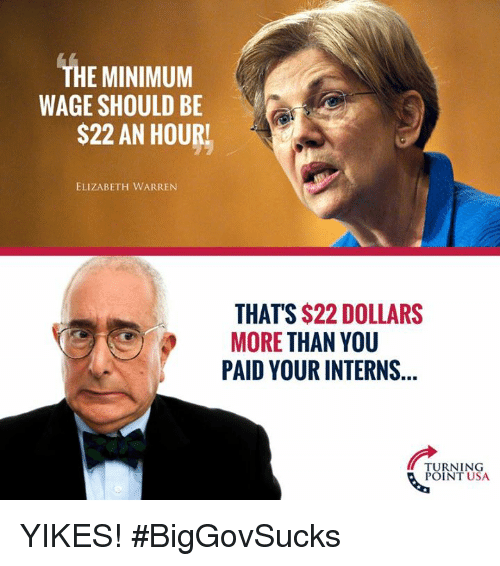 Elizabeth Warren, Memes, and Minimum Wage: THE MINIMUM  WAGE SHOULD BE  S22 AN HOURL  ELIZABETH WARREN  THAT'S $22 DOLLARS  MORE THAN YOU  PAID YOUR INTERNS  TURNING  POINT USA YIKES! #BigGovSucks