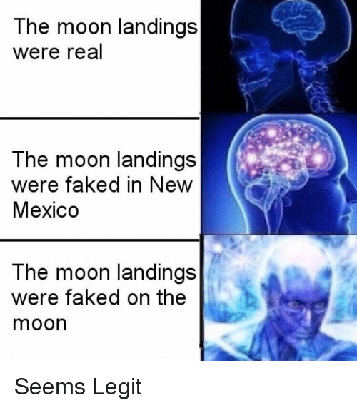 New Mexico: The moon landings  were real  The moon landings  were faked in New  Mexico  The moon landings  were faked on the  moon Seems Legit