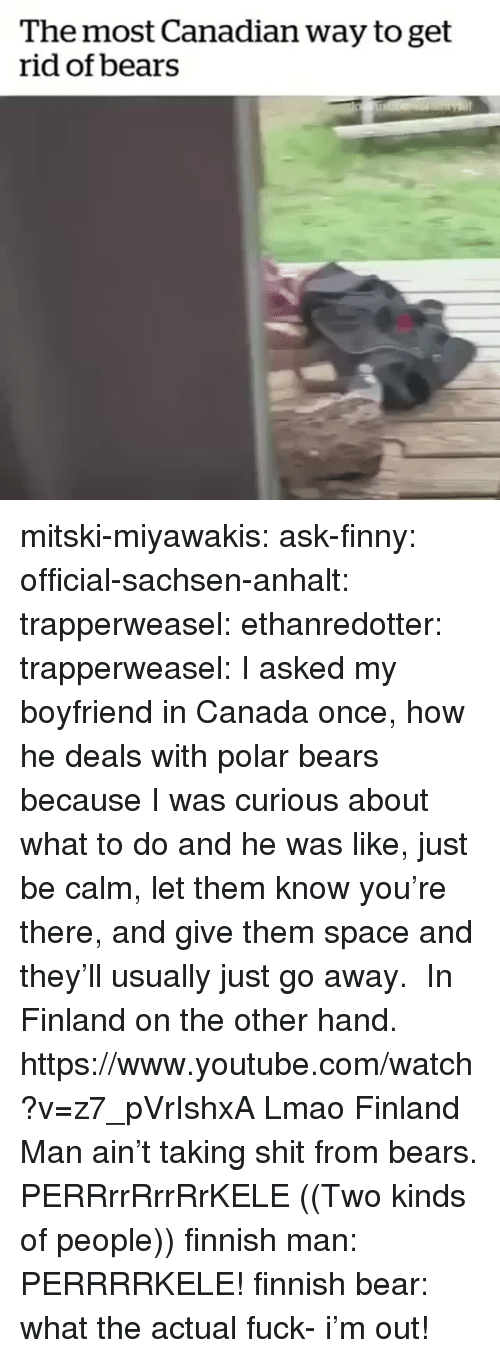 polar bears: The most Canadian way to get  rid of bears mitski-miyawakis:  ask-finny:   official-sachsen-anhalt:  trapperweasel:   ethanredotter:  trapperweasel: I asked my boyfriend in Canada once, how he deals with polar bears because I was curious about what to do and he was like, just be calm, let them know you're there, and give them space and they'll usually just go away.  In Finland on the other hand. https://www.youtube.com/watch?v=z7_pVrIshxA  Lmao Finland Man ain't taking shit from bears.   PERRrrRrrRrKELE  ((Two kinds of people))   finnish man: PERRRRKELE! finnish bear: what the actual fuck- i'm out!