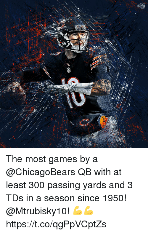 Memes, Games, and 🤖: The most games by a @ChicagoBears QB with at least 300 passing yards and 3 TDs in a season since 1950!  @Mtrubisky10! 💪💪 https://t.co/qgPpVCptZs