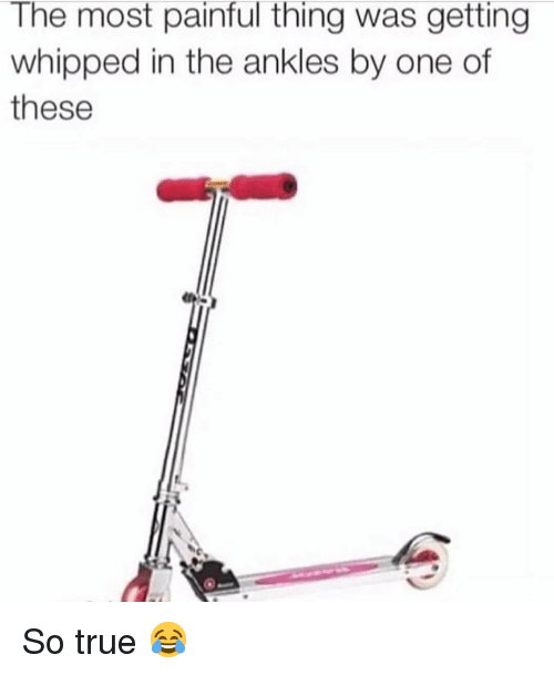 Memes, True, and 🤖: The most painful thing was getting  whipped in the ankles by one of  these So true 😂