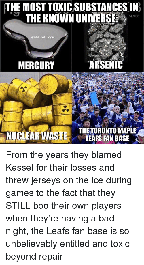 Bad, Boo, and Logic: THE MOST TOXIC SUBSTANCES IN  THE KNOWN UNIVERSE 742  74.922  @nhl _ref logic  MERCURY  ARSENIC  THETORONTO MAPLE  LEAFS FAN BASE From the years they blamed Kessel for their losses and threw jerseys on the ice during games to the fact that they STILL boo their own players when they're having a bad night, the Leafs fan base is so unbelievably entitled and toxic beyond repair