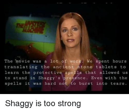 Work, Movie, and Tablets: The movie was a lot of work We spent hours  translating the ancient stone tablets to  learn the protective spells that allowed us  to stand in Shaggy s presence. Even with the  spells it was hard not to burst into tears Shaggy is too strong