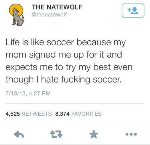 Fucking, Life, and Soccer: THE NATEWOLF  @thenatewolf  Life is like soccer because my  mom signed me up for it and  expects me to try my best evern  though I hate fucking soccer.  7/13/13, 4:27 PM  4,525 RETWEETS 8,374 FAVORITES