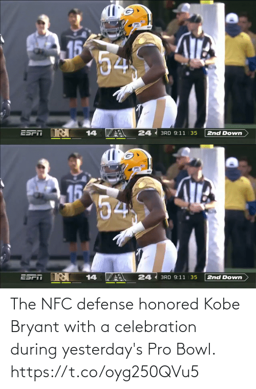 Kobe Bryant: The NFC defense honored Kobe Bryant with a celebration during yesterday's Pro Bowl. https://t.co/oyg250QVu5