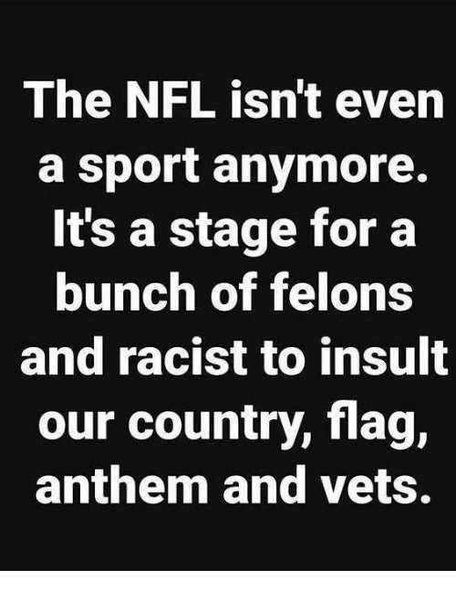 Memes, Nfl, and Racist: The NFL isn't even  a sport anymore.  It's a stage for a  bunch of felons  and racist to insult  our country, flag,  anthem and vets.