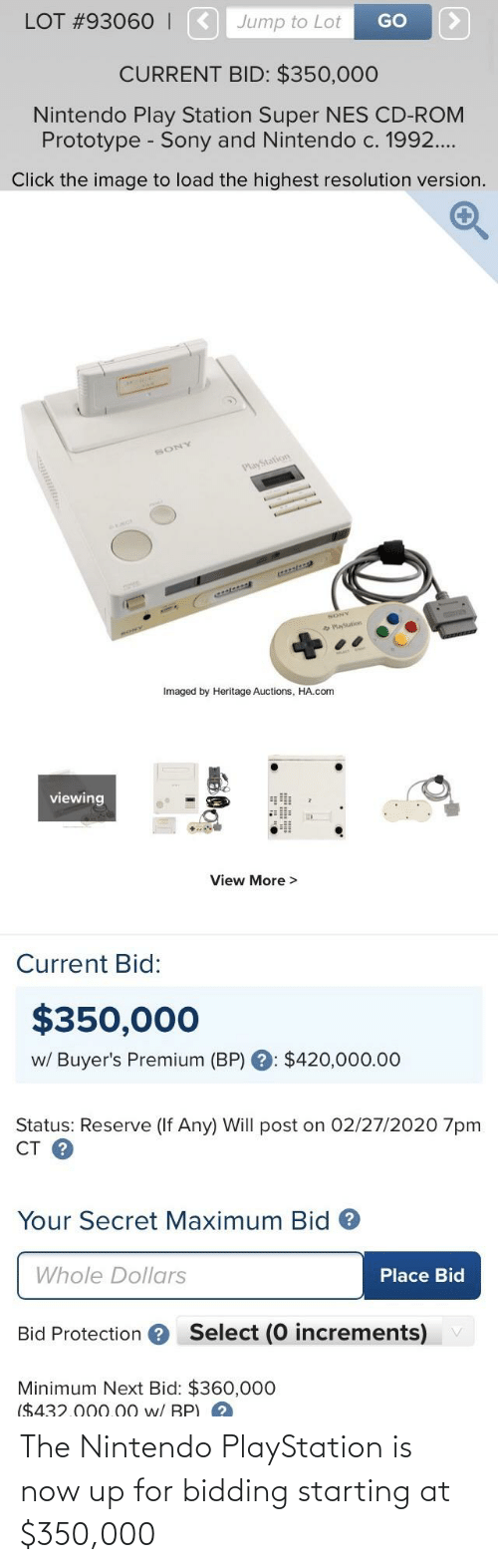 Nintendo: The Nintendo PlayStation is now up for bidding starting at $350,000