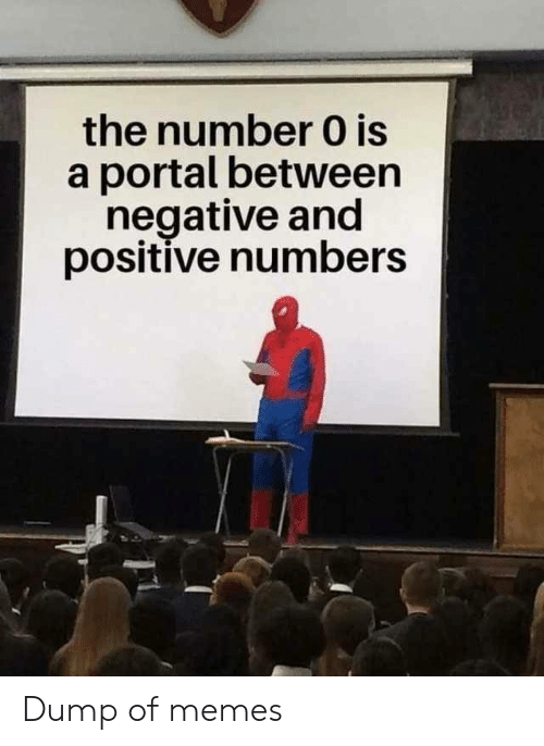 Memes, Portal, and Dump: the number 0 is  a portal between  negative and  positive numbers Dump of memes