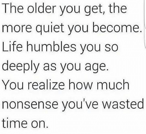 Quiet You: The older you get, the  more quiet you become.  Life humbles you so  deeply as you age.  You realize how much  nonsense you've wasted  time on
