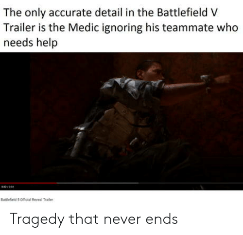 Battlefield: The only accurate detail in the Battlefield V  Trailer is the Medic ignoring his teammate who  needs help  Battlefield 5 Omicial Reveal Traier Tragedy that never ends