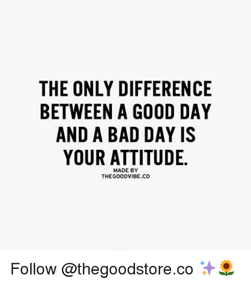 The ONLY DIFFERENCE BETWEEN a GOOD DAY AND a BAD DAY IS YOUR