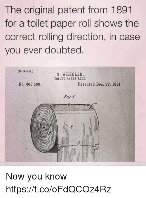 Paper, Patent, and Case: The original patent from 1891  for a toilet paper roll shows the  correct rolling direction, in case  you ever doubted.  (No Model.)  S. WHEELER.  TOILET PAPES ROLL  No. 466,588.  Patented Deo. 22, 1891  絼 Now you know https://t.co/oFdQCOz4Rz