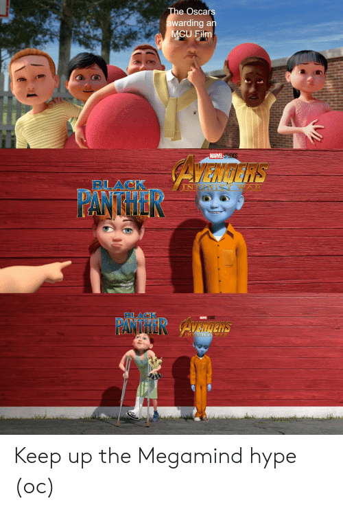 panther: The Oscars  awarding an  MCU Film  MARVEL STUDIOS  AZNdNS  BLACK  TY WA R  INF  PANTHER  BLACK  MARVEL STUDIOS  PANTHER AvaInens  INEINITY WAP  ARVEL Keep up the Megamind hype (oc)