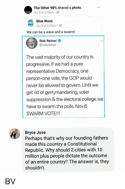 College, Memes, and Progressive: The Other 98% shared a photo.  Oct 9 at 3:28pm.  Blue Wave  WAVE Oct 8 at 6:00pm 3  We can be a wave and a swarm!  Rob Reiner  @robreiner  The vast majority of our country is  progressive. If we had a pure  representative Democracy, one  person-one vote, the GOP would  never be allowed to govern. Until we  get rid of gerrymandering, voter  suppression & the electoral college we  have to swarm the polls. Nov.6  SWARM VOTE!!!  Bryce Jose  Perhaps that's why our founding fathers  made this country a Constitutional  Republic. Why should 2 cities with 10  million plus people dictate the outcome  of an entire country? The answer is, they  shouldn't. BV