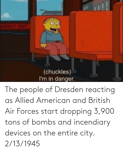 Start: The people of Dresden reacting as Allied American and British Air Forces start dropping 3,900 tons of bombs and incendiary devices on the entire city. 2/13/1945