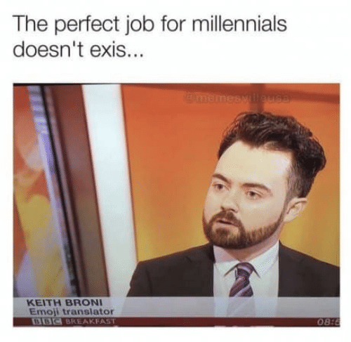 Emoji: The perfect job for millennials  doesn't exis...  memesy lleus8  KEITH BRONI  Emoji translator  BBC BREAKFAST  08:8
