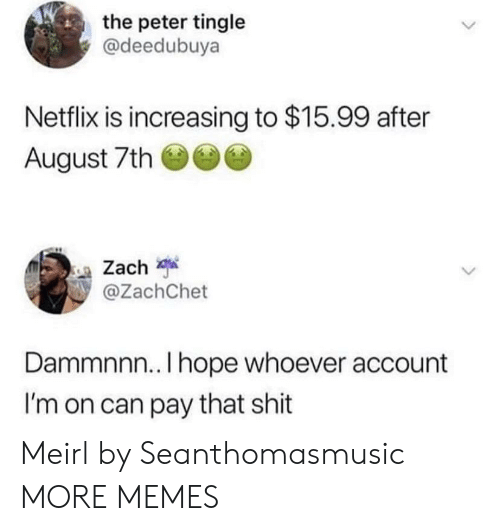 Dank, Memes, and Netflix: the peter tingle  @deedubuya  Netflix is increasing to $15.99 after  August 7th  Zach  @ZachChet  Dammnnn.. I hope whoever account  I'm on can pay that shit Meirl by Seanthomasmusic MORE MEMES
