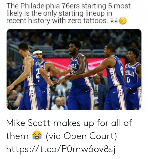 Likely: The Philadelphia 76ers starting 5 most  likely is the only starting lineup in  recent history with zero tattoos.  ILA  HILA Mike Scott makes up for all of them 😂  (via Open Court) https://t.co/P0mw6ov8sj