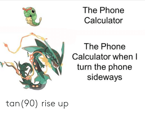 Calculator: The Phone  Calculator  The Phone  Calculator when I  turn the phone  sideways tan(90) rise up