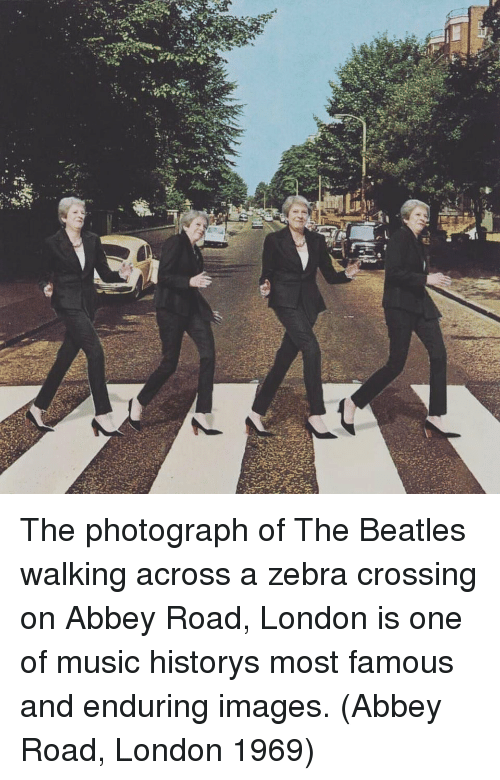 The Beatles: The photograph of The Beatles walking across a zebra crossing on Abbey Road, London is one of music historys most famous and enduring images. (Abbey Road, London 1969)