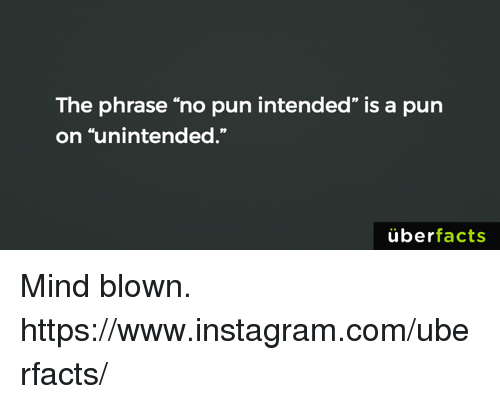 """no pun intended: The phrase """"no pun intended"""" is a pun  on """"unintended.""""  uber  facts Mind blown. https://www.instagram.com/uberfacts/"""