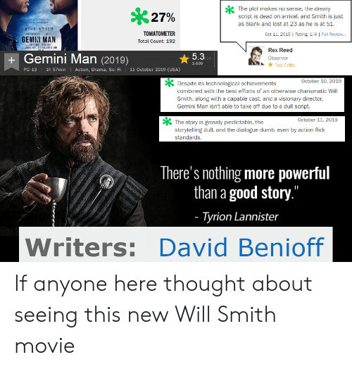 "Dumb, Will Smith, and Lost: The plot makes no sense, the dreary  script is dead on arrival, and Smith is just  27%  wHD WILL AVE YOUu  PROM YOURBELF  as blank and lost at 23 as he is at 51.  IEE EMITH  il CE E us  TOMATOMETER  Oct 11, 2019 | Rating: 1/4 | Full Review..  GEMINI MAN  Total Count: 192  Rex Reed  Gemini Man (2019)  5.3P10  Observer  3,600  Top Critic  11 October 2019 (USA)  1h 57min  Action, Drama, Sci-Fi  PG-13  October 10, 2019  Despite its technological achievements  combined with the best efforts of an otherwise charismatic Will  Smith, along with a capable cast, and a visionary director,  Gemini Man isn't able to take off due to a dull script  October 11, 2019  The story is grossly predictable, the  storytelling dull, and the dialogue dumb, even by action flick  standards.  There's nothing more powerful  than a good story.""  - Tyrion Lannister  Writers: David Benioff If anyone here thought about seeing this new Will Smith movie"
